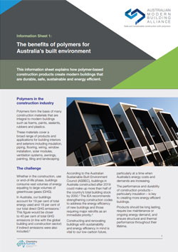 AMBA Information Sheet 1 - The benefits of polymers for Australia's built environment