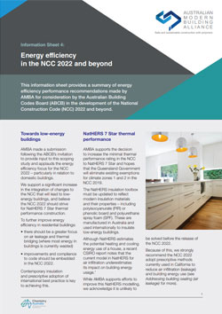 AMBA Information Sheet 4 - Energy efficiency in the NCC 2022 and beyond