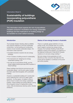 AMBA Information Sheet 5 - Sustainability of buildings incorporating polyurethane (PUR) insulation